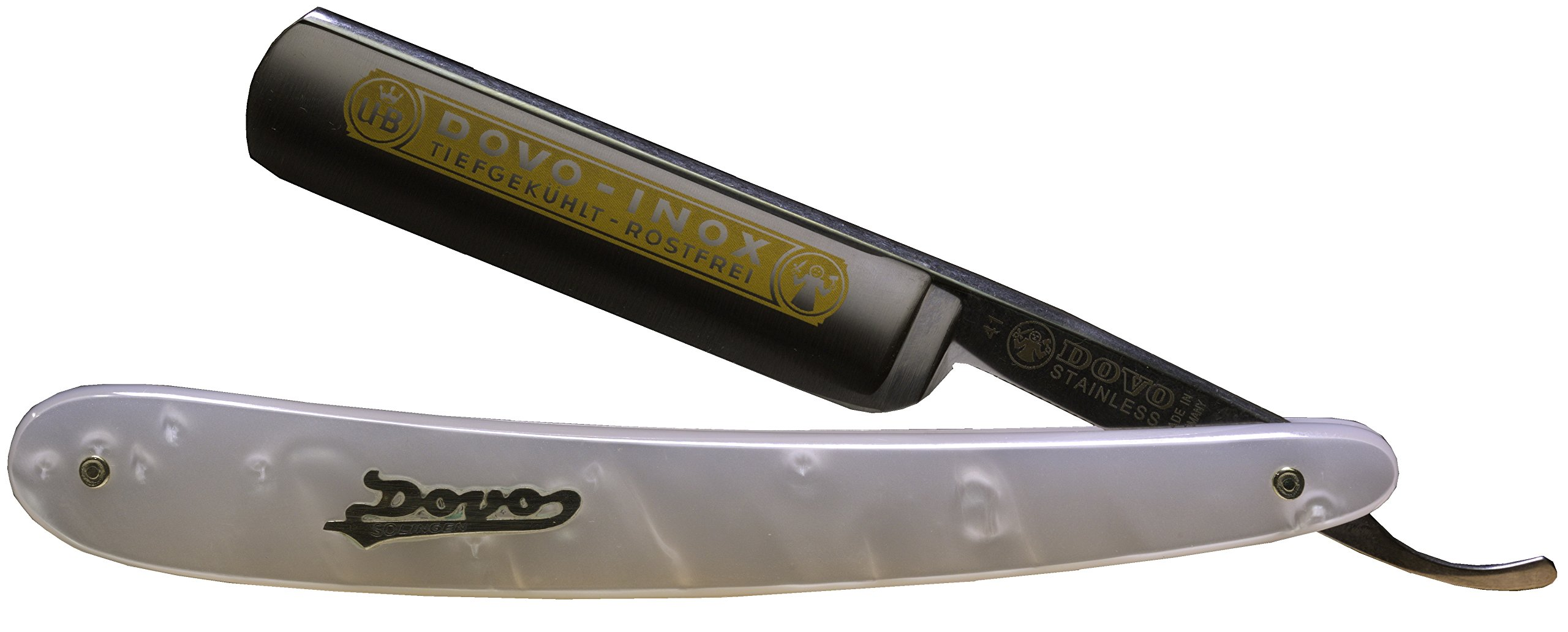 Dovo 415815 5/8'' INOX Stainless Steel Straight Razor with Shave Ready Option, Imitation Mother of Pearl Resin Scales (Shave Ready, Unsealed)