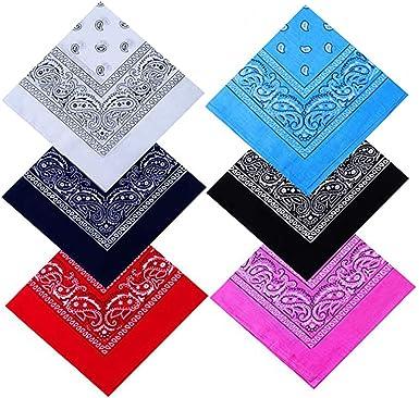 Assorted 6 Colors 55 by 55 cm also as cowboy//Neckerchief Wakauto 6 Pack Cotton Bandana Multifunction Paisley Headbands Cowboy Bandana Handkerchiefs ideal for Hip-Hop Cycling