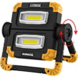 RUNACC LED Work Light USB Rechargeable Folding Portable Waterproof 2 COB 2000LM Flood Light Stand Working Lights for Outdoor