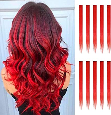 FESHFEN extensiones de cabello colores, 10Pcs de cabello Rojo para niñas Party Highlight Postizos de pelo color liso y colorido Clip en disfraces ...