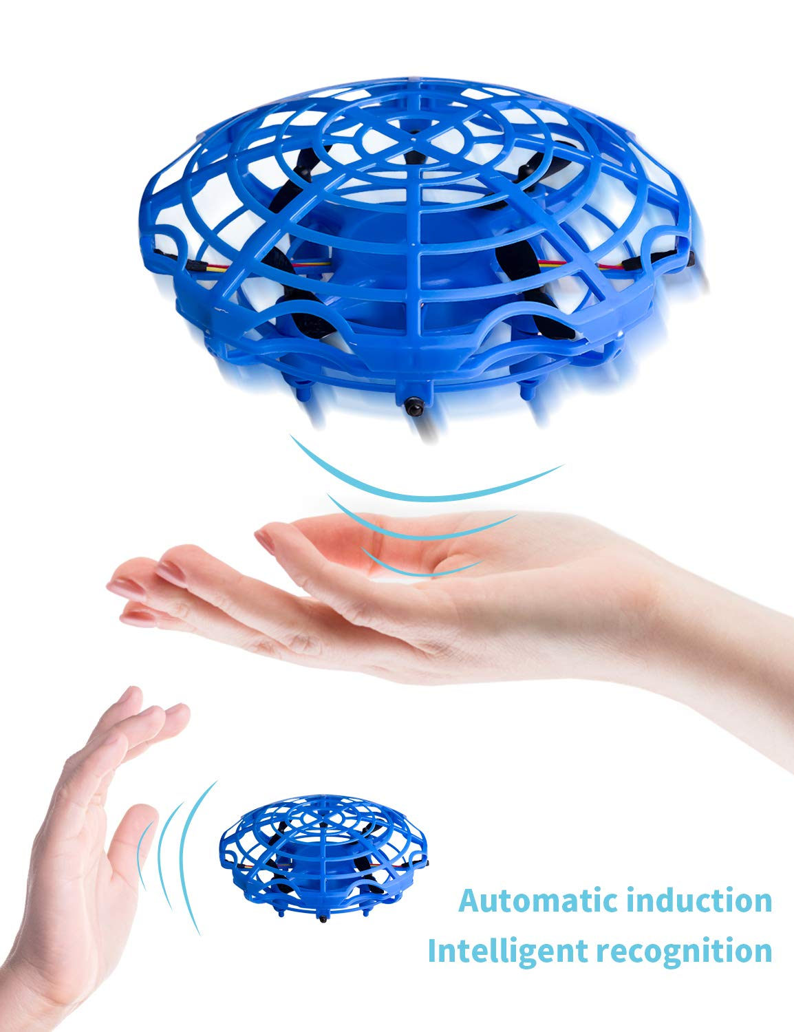 Refasy 3 Year Old Girl Gift Ideas, UFO Hand-Controlled Mini Drone Helicopter Flying Ball Toys for 3-12 Year Old Boy Outdoor Toys LED Light for Kid 8-12 Year Old or Adults Blue by Refasy (Image #3)