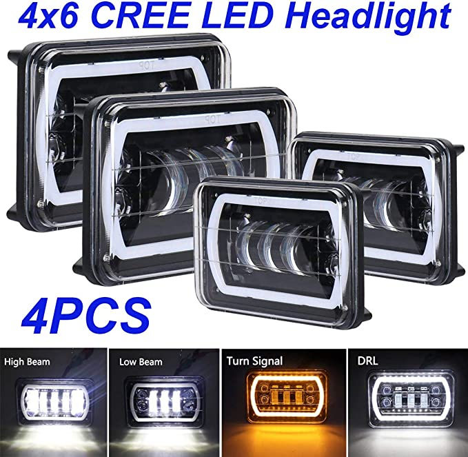 Globled 4pcs 4x6 cree led h4 Rectangular Headlight Projector Sealed Beam Replacement dot Approved high//Low Beam drl Kenworth t600 Classic 120//132 Ford Freightliner Jeep