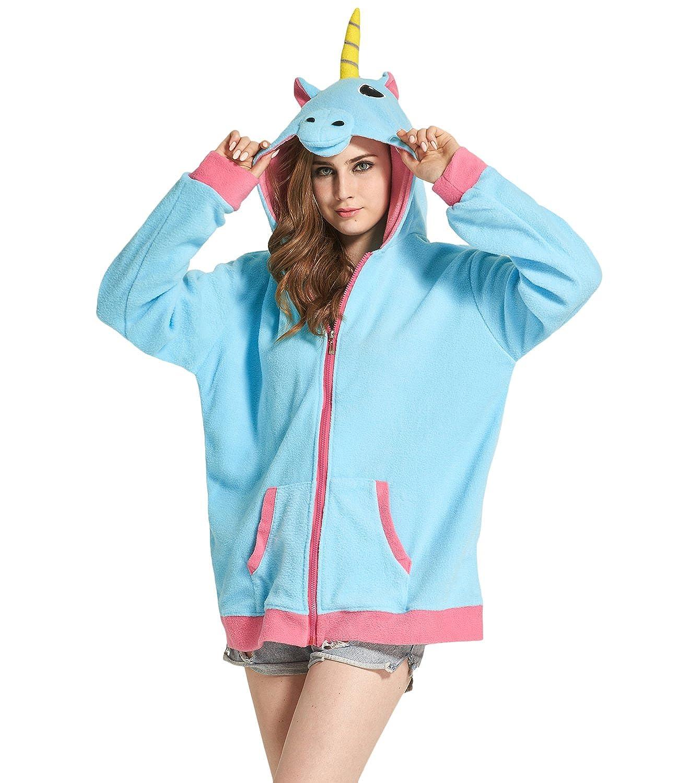 DarkCom Cartoon Unicorno Giacche Cosplay Abbigliamento Zip Felpe con Cappuccio Felpa Capispalla