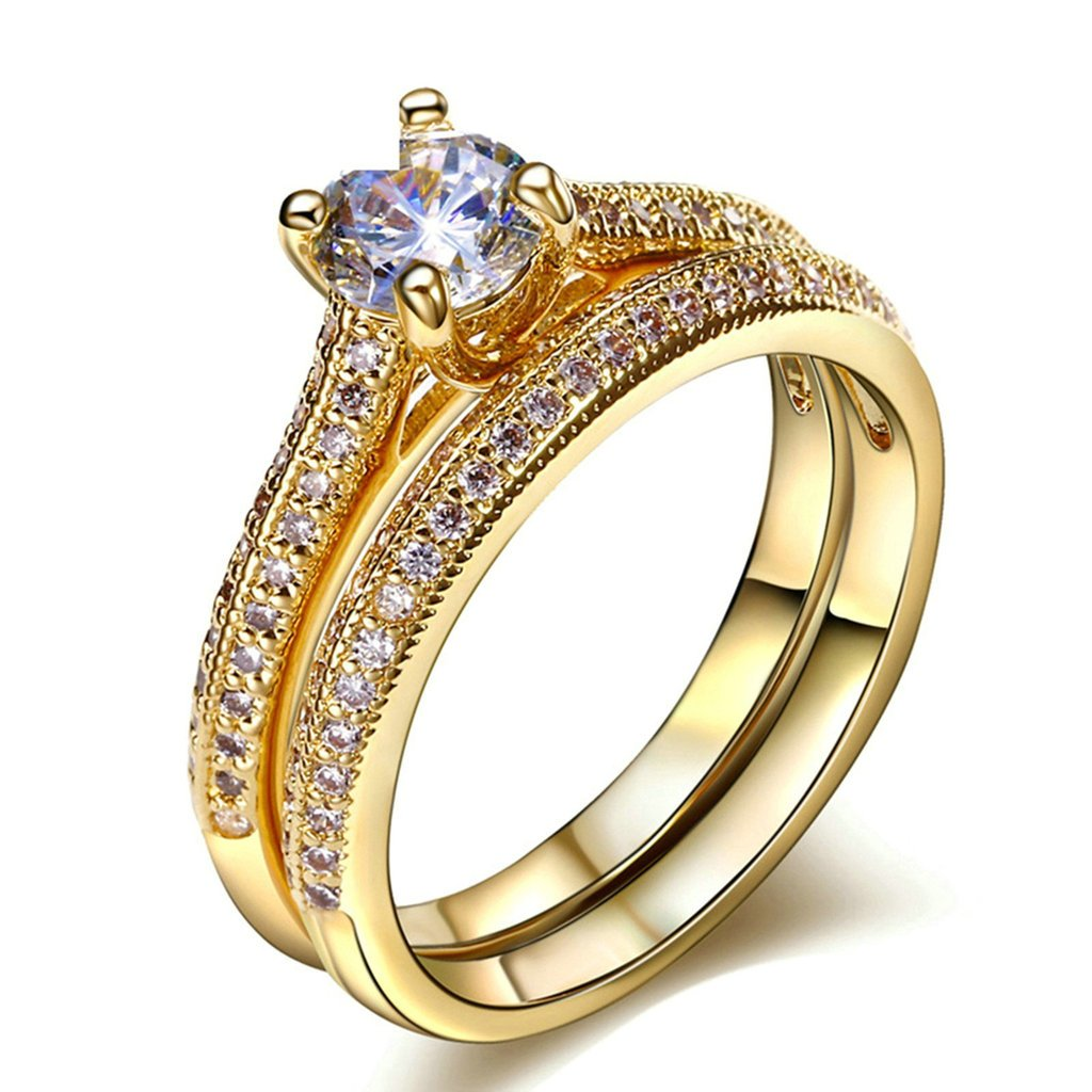 Daesar Gold Plated Rings Womens Engagement Rings Gold 2 Rows CZ Rhinestone Rings Size 8