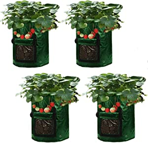 Asunflower 10 Gallon Potato Grow Bags, 4 Pack Garden Planting Bags Potatos Planter Tub with Access Flap for Harvesting,Vegetable Packs w/Holes for Drainage