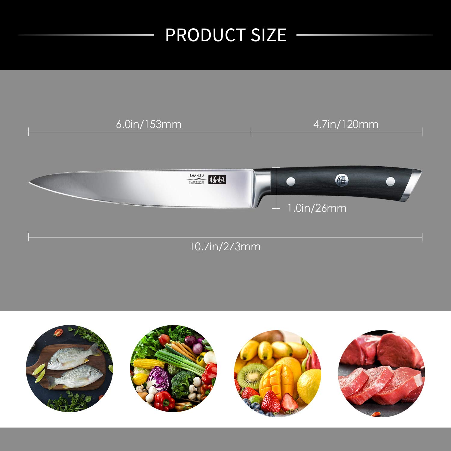Utility Knife, Kitchen Knfie SHAN ZU 6.5 inch Chef Knife Cutlery Kitchen Cooking Set Professional Ultra Sharp German Stainless Steel Blade for Home ...