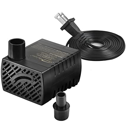 Simple Deluxe 80 GPH Submersible Pump with Adjustable Intake & 6'  Waterproof Cord for Hydroponics, Aquaponics, Fountains, Ponds, Statuary,  Aquariums &