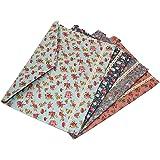 Oak-Pine 4 Pcs / 1 Set Portable Floral A4 File Envelope Fabric Document Bag Paper Pockets Letter Folder with Snap Button Clos