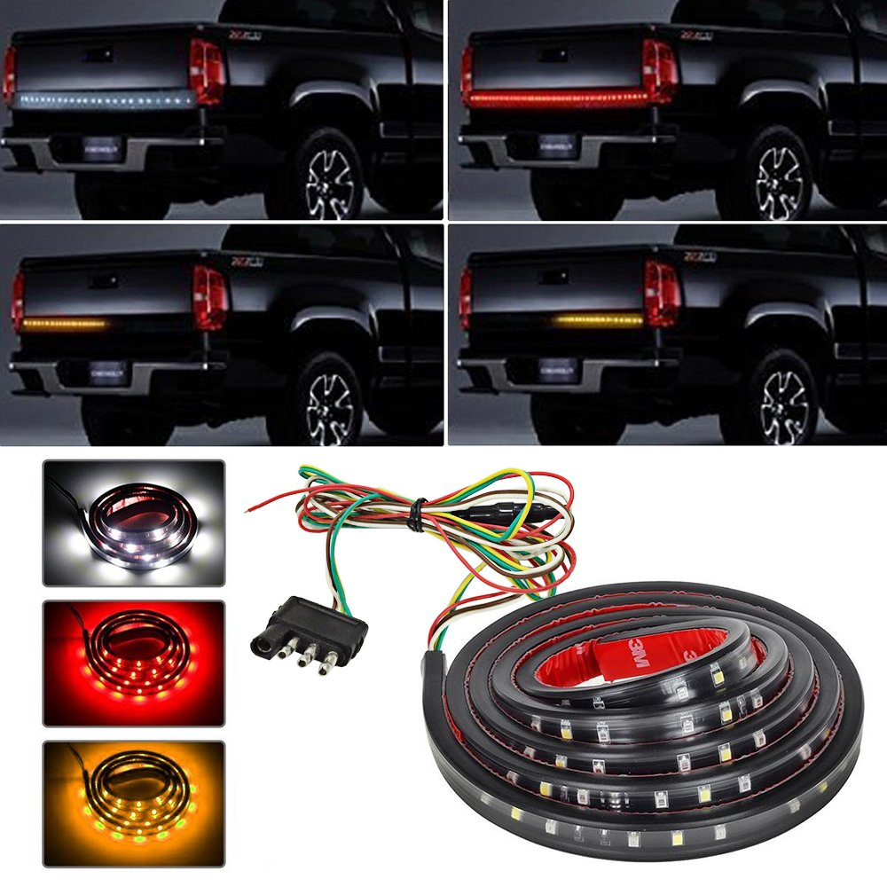 Zflin Waterproof 60 Red White Yellow Tailgate Led Strip 1986 Chevy Truck Reverse Switch Light Bar Brake Turn Signal Tail For Ford Gmc Dodge Toyota Nissan