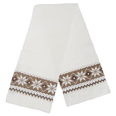 Floso Womensladies Knitted Fairisle Snowflake Pattern Winter Scarf