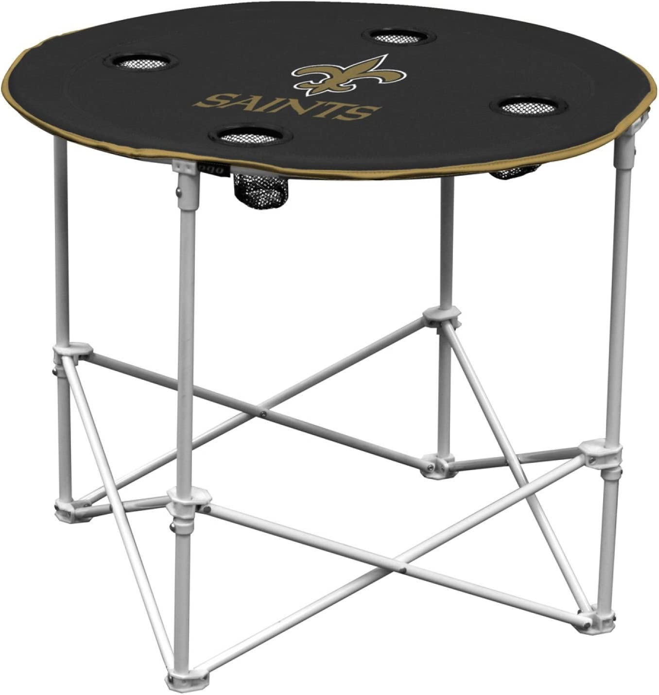 New Orleans Saints  Collapsible Round Table with 4 Cup Holders and Carry Bag