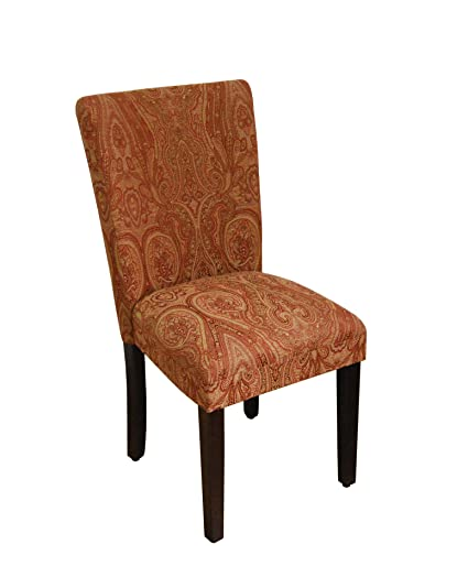 Classic Parsons Chair Upholstery: Red /Gold Damask