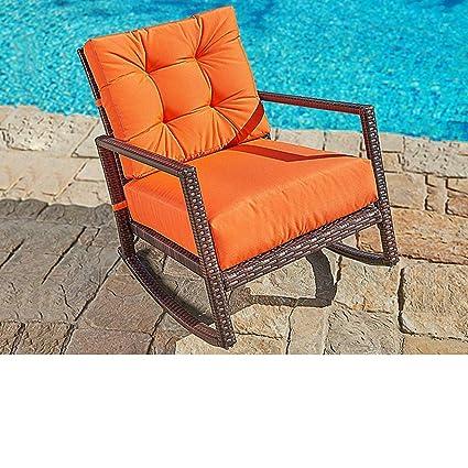 Amazon Com Suncrown Outdoor Furniture Vibrant Orange Patio Rocking