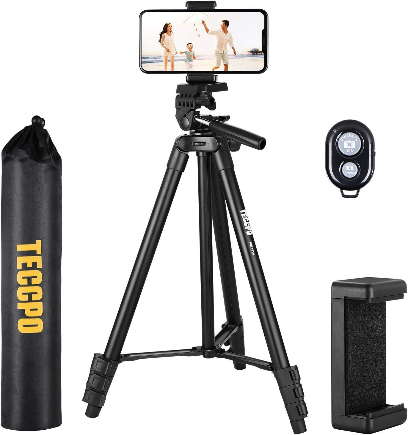 Trípode Móvil TECCPO, Trípode Flexible para Cámara y Gopro con Control Remoto Bluetooth para iOS Android, Trípode Plegable con Soporte de Teléfono y Bolsa Portátil para Viajes, Selfie, Medición