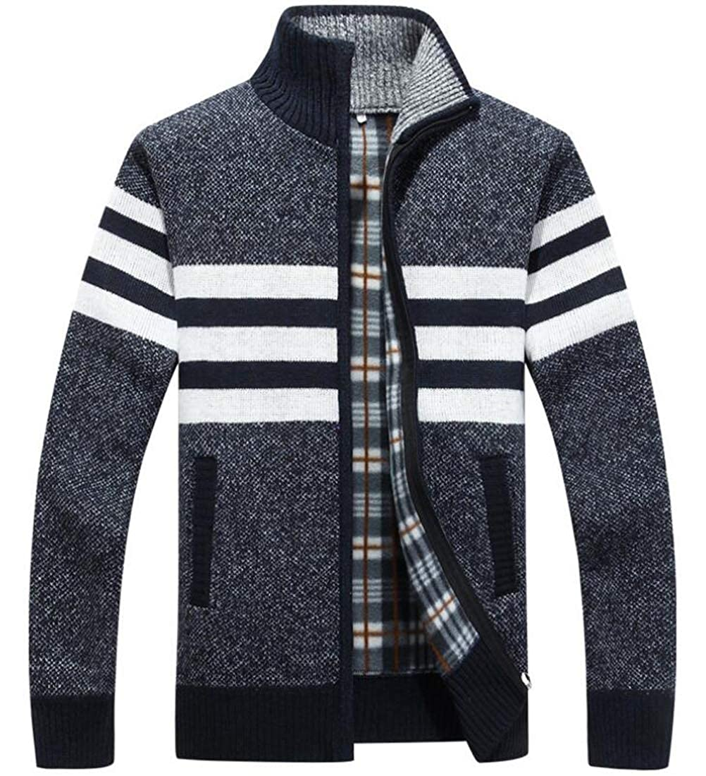 WSPLYSPJY Mens Long Sleeve Casual Wide Stripes Zipper Knitted Cardigan Sweater