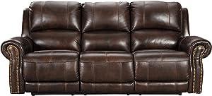 Signature Design by Ashley Buncrana Power Reclining Sofa with Adjustable Headrest Chocolate