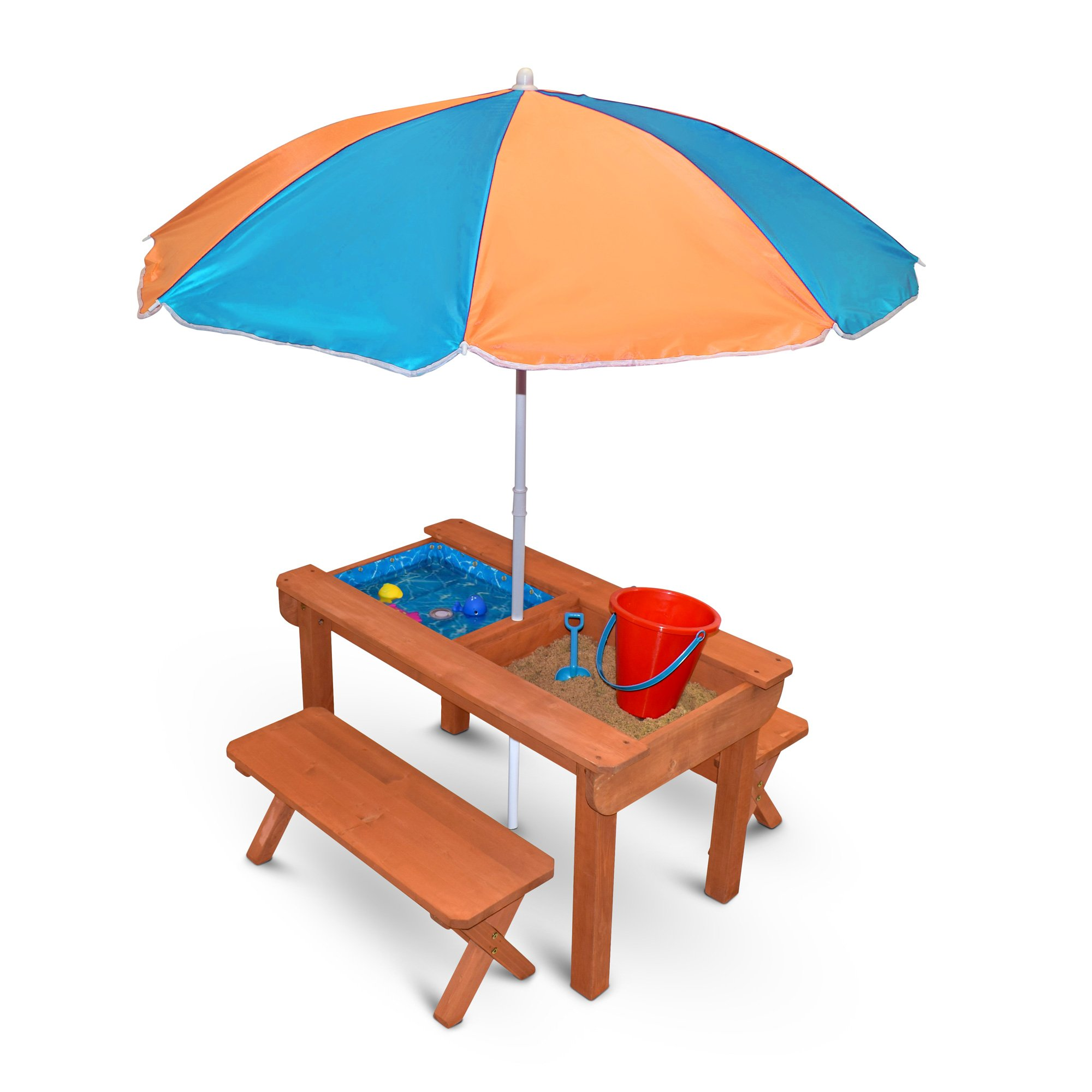 Back Bay Play Kids Sand and Water Table Premium Wooden Indoor Outdoor Convertible Picnic Table - Activity Sensory Toy Playset Promotes Learning – Removable Lids for Sandbox & Splash Pool (Natural)