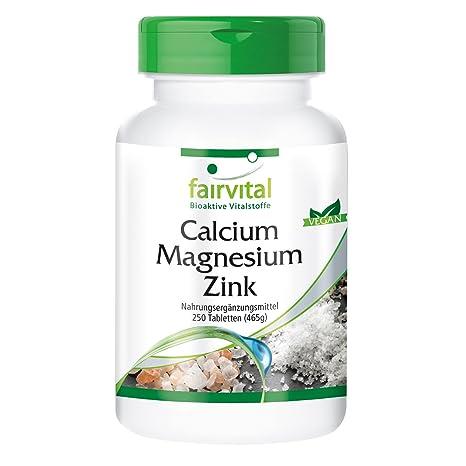 Calcio Magnesio Zinc -para 80 días - VEGANO - Alta dosificación - 250 comprimidos -