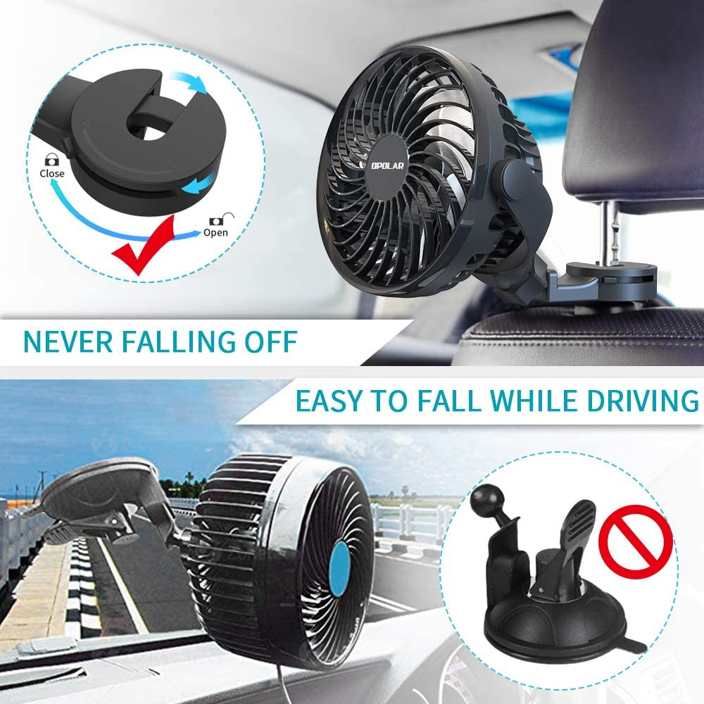 High Airflow OPOLAR New Mini Car USB Fan with Multi-Directional Hook Personal Cooling Vehicle Fan for Car Without AC Driver Passenger Baby Pet-USB Powered Only 360/° Rotation Four Speeds
