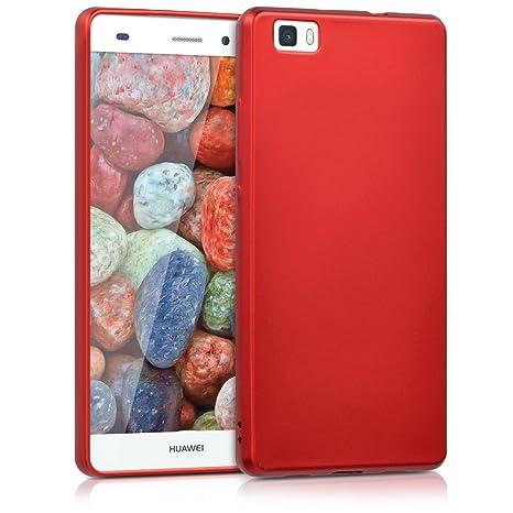 kwmobile Funda para Huawei P8 Lite (2015) - Carcasa para móvil en [TPU Silicona] - Protector [Trasero] en [Rojo Oscuro Metalizado]