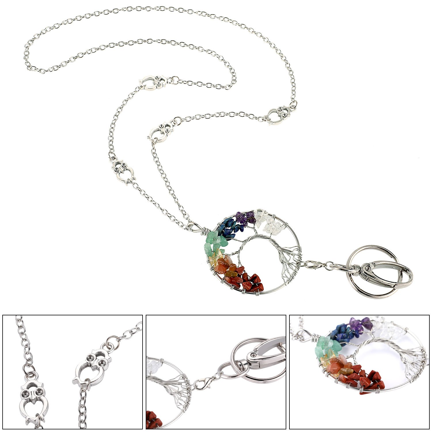 Jovitec 2 Pieces Women Lanyard Necklace Fashion Lanyard with Life Tree Pendant for ID Badge Holder