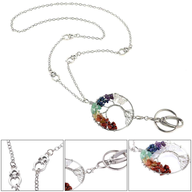 3a34593da75f Jovitec 2 Piezas de Collar de Cordón de Mujeres Cordón de Moda con Colgante  de Árbol de Vida para Funda de Tarjeta de Identificación  Amazon.es  Joyería