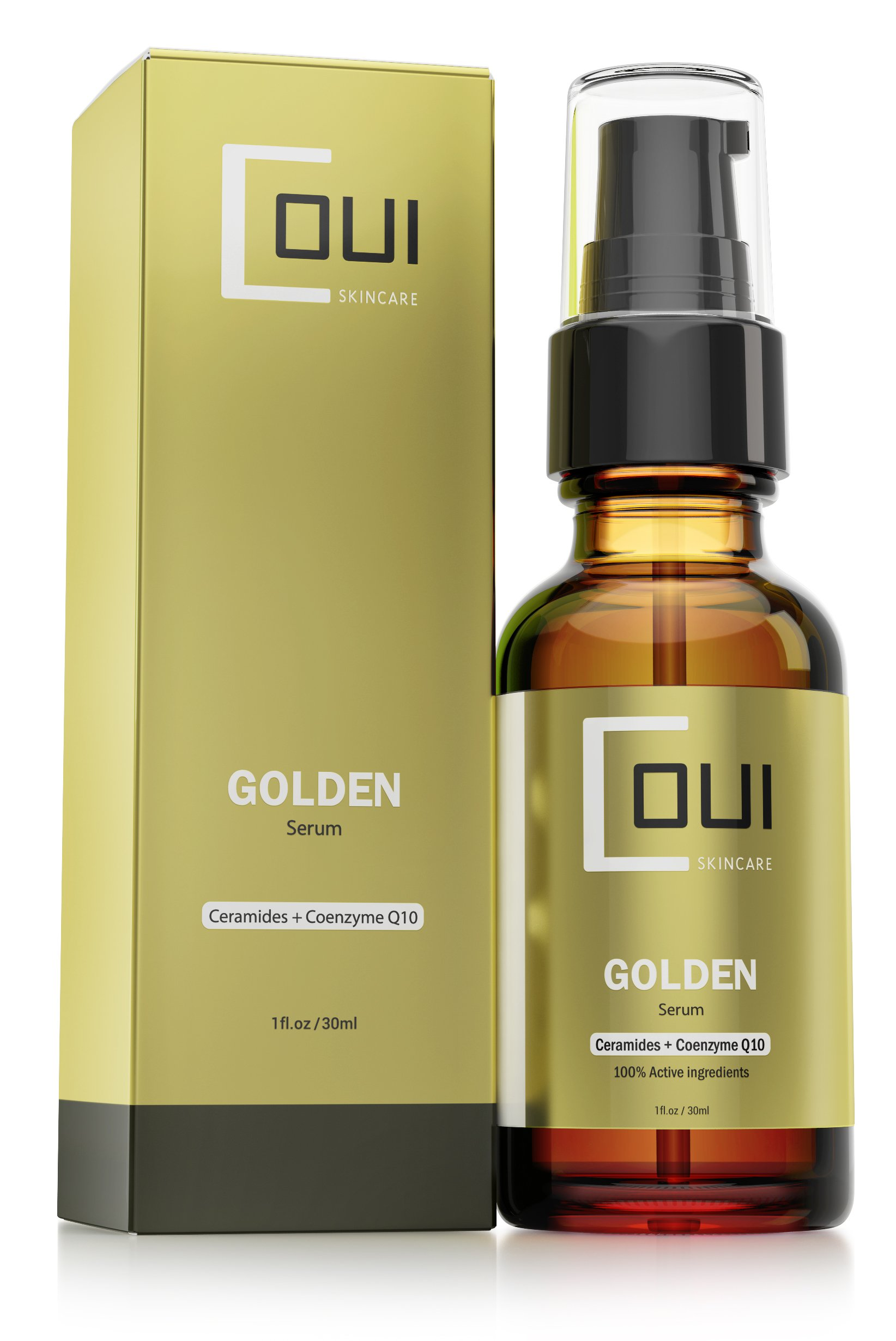 GOLDEN Facial Serum Anti Aging Hydration - Coenzyme Q10, Argan Oil, Natural Ingredients for Face, Neck, Dry Skin