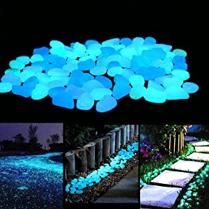 Unime Glow in the Dark Garden Pebbles Stones for Yard and Walkways Decor, DIY Decorative Luminous Stones in Blue (100 PCS)