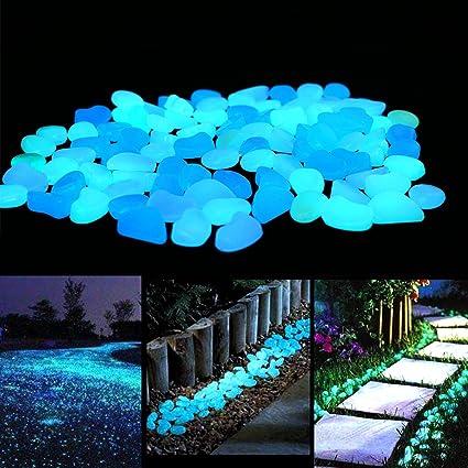 6bb747673dbbc Amazon.com : UNIME Glow in The Dark Garden Pebbles Stones for Yard and  Walkways Decor, DIY Decorative Luminous Stones in Blue (100 PCS) : Garden &  Outdoor