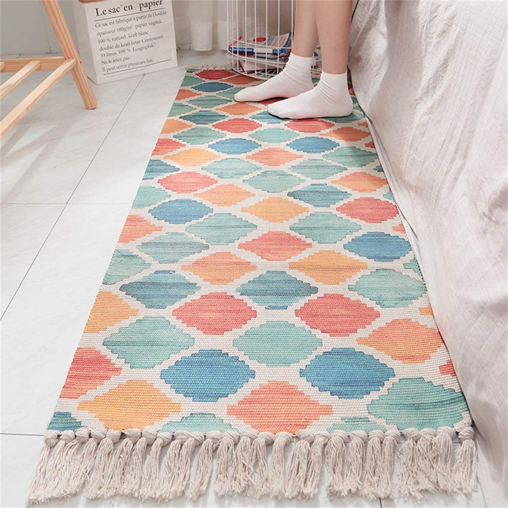Bedside Carpet Cotton Hand-Woven Bedroom Mat Green Household Room Strip Tassel Anti-Slip Mat