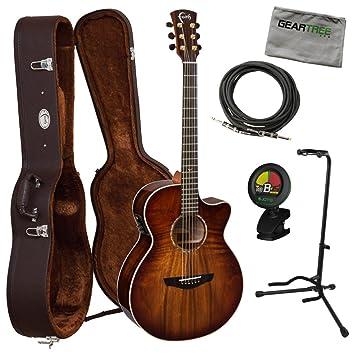 Fe guitarras fvbmb Venus sangre luna serie Trembesi acústica guitarra eléctrica w/gamuza de carcasa rígida, geartree, cable, y sintonizador: Amazon.es: ...