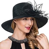6558771bba1 Women Kentucky Derby Church Dress Cloche Hat Fascinator Floral Tea Party  Wedding Bucket Hat S052