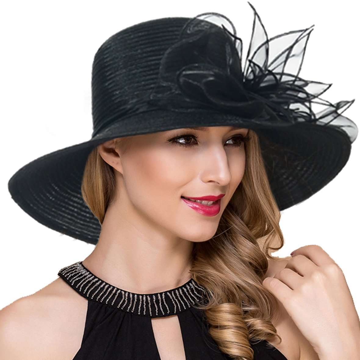 84b72f2541509 Women Kentucky Derby Church Dress Cloche Hat Fascinator Floral Tea Party  Wedding Bucket Hat S052 (Black) at Amazon Women s Clothing store