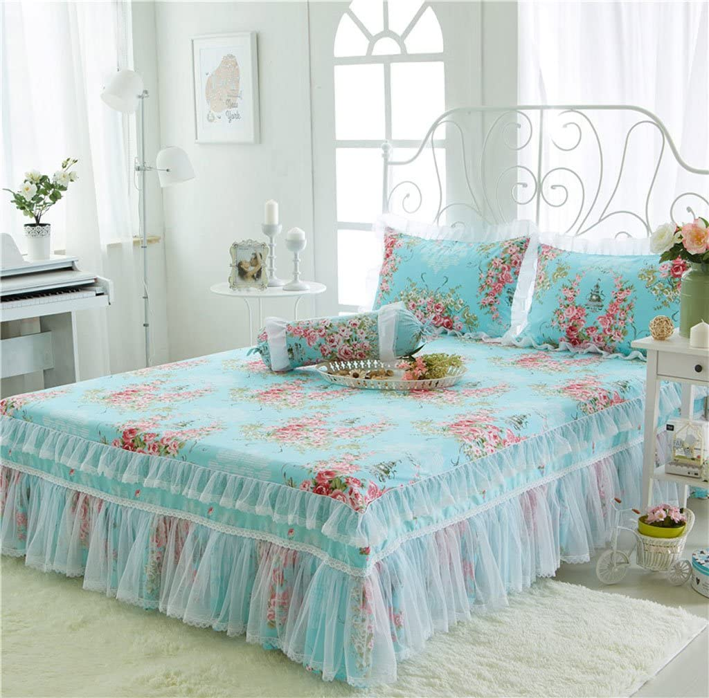 Colcha MXJ61 Azul patrón de Flores de algodón Cubre Falda Cama ...