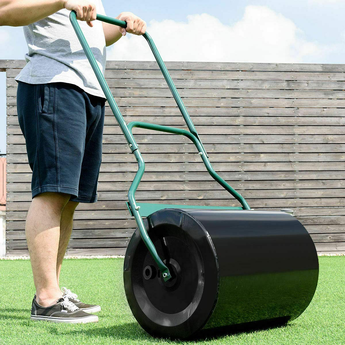 MAREEYA SHOP 16''x 19.5'' Heavy Duty Poly Push Tow Lawn Roller Poly Roller Mower Steel