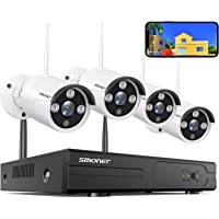 SMONET Wireless Security Camera Systems,8-Channel 3MP Surveillance NVR Kits,4pcs 1296P(3.0 Megapixel) Indoor Outdoor…