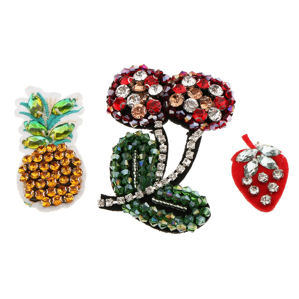 MonkeyJack 3 Pieces Fruits Design Rhinestone Beaded Sewing Patch for DIY Bag Hat Pants Clothing Decoration