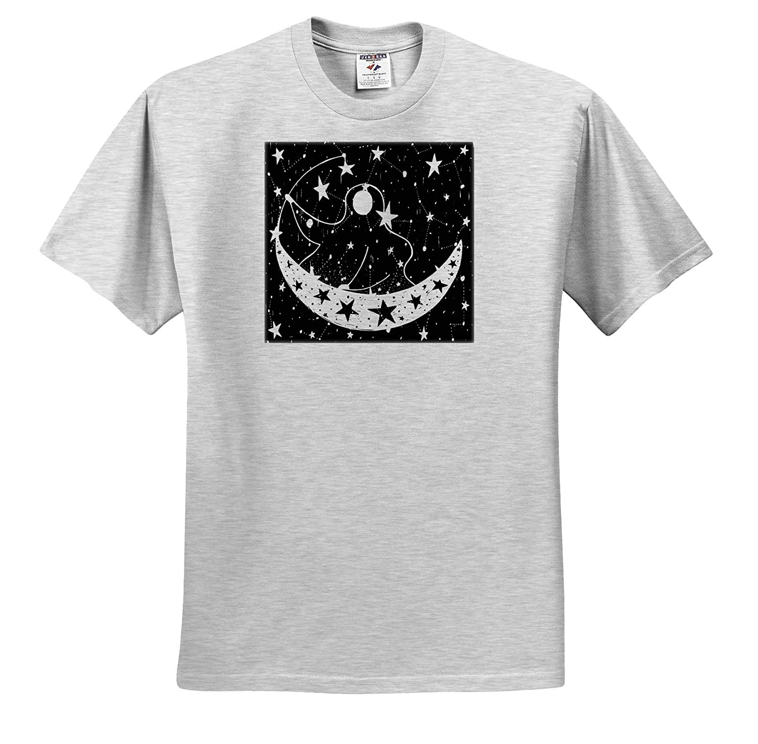 3dRose Spiritual Awakenings Digital Art T-Shirts Crescent Moon Starts and The Man in The Moon Art