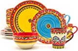 Euro Ceramica Galicia Collection Andalusian-Inspired 16 Piece Ceramic Dinnerware Set Vibrant Assorted Patterns  sc 1 st  Amazon.com & Amazon.com   Tuscan Collection Deluxe 16-Piece Handcrafted ...