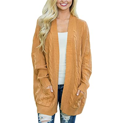 Actloe Women Casual Open Front Long Sleeve Cable Knit Sweater Cardigan with Pocket: Clothing
