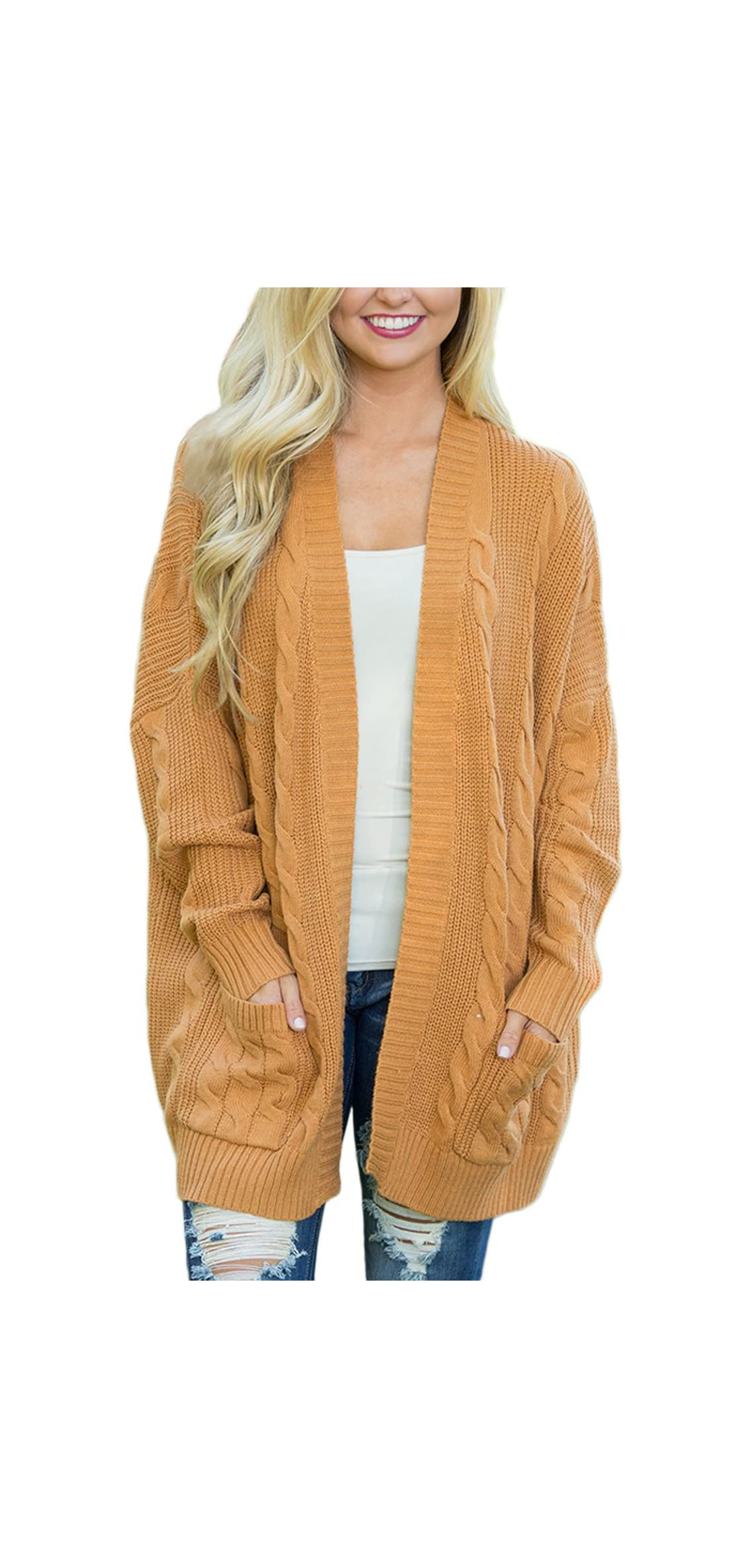 Womens Fashion Open Front Long Sleeve Cardigans Sweater