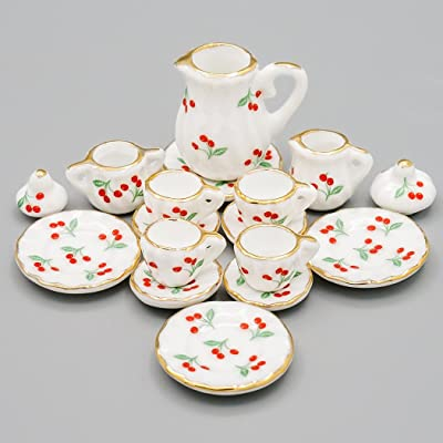 Odoria 1:12 Miniature 15PCS Porcelain Tea Cup Set Cherry Chintz Dollhouse Kitchen Accessories: Toys & Games