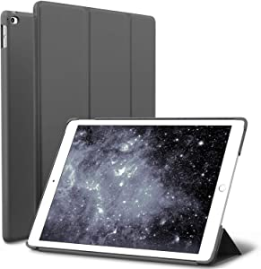 iPad Air 2 Case, ROARTZ Gray Slim Fit Smart Rubber Coated Folio Case Hard Shell Cover Light-Weight Auto Wake/Sleep for Apple iPad Air 2nd Generation A1566/A1567 Retina Display