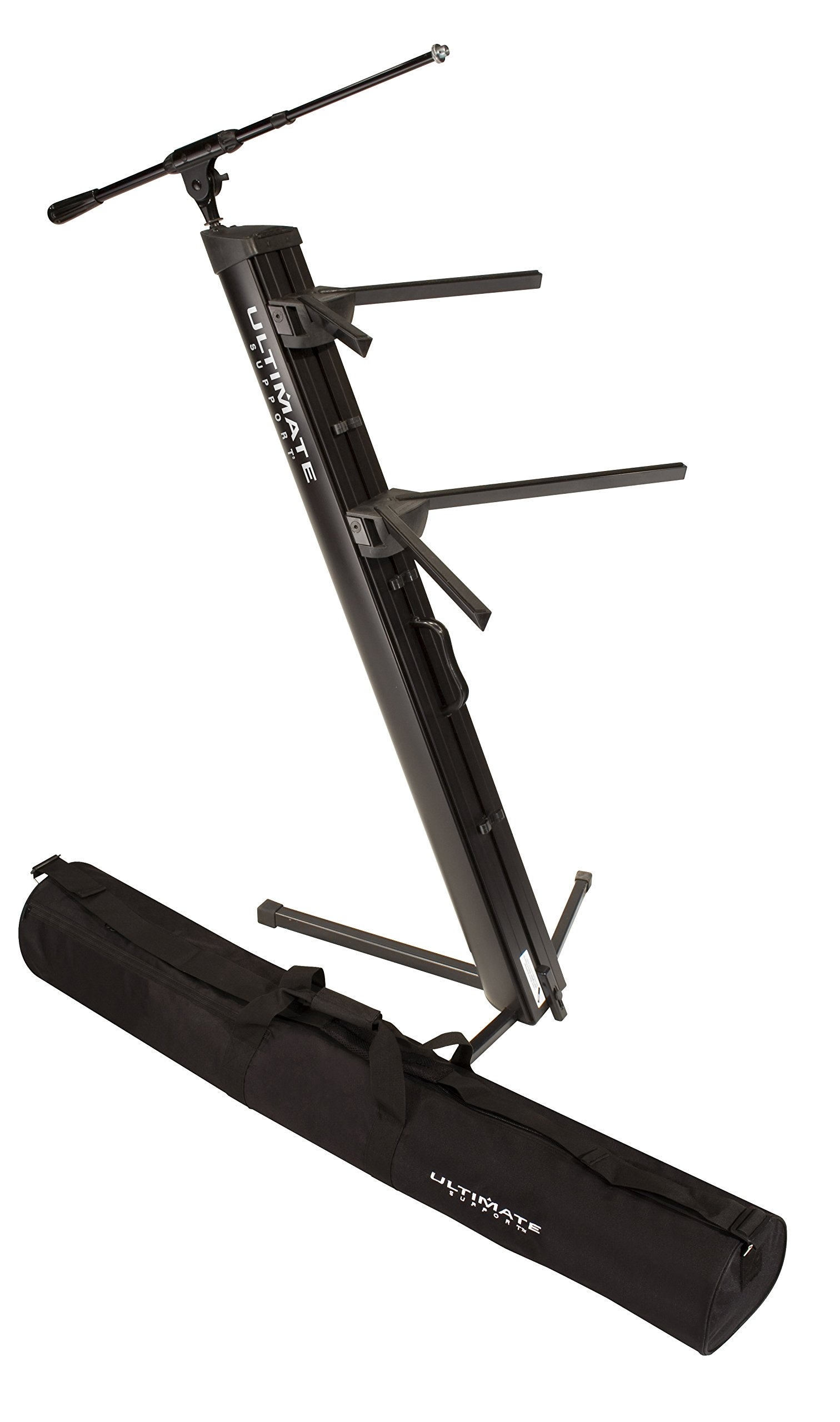 Ultimate Support AX-48 Pro Plus Two-tier Portable Column Keyboard Stand (Black), Boom Attachment, Ulti-Boom Pro-TB, and Tote