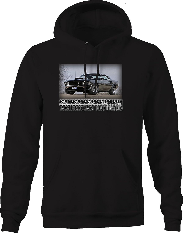 American Hotrod Mustang Boss 429 Racing Black Muscle Graphic Hoodie for Men