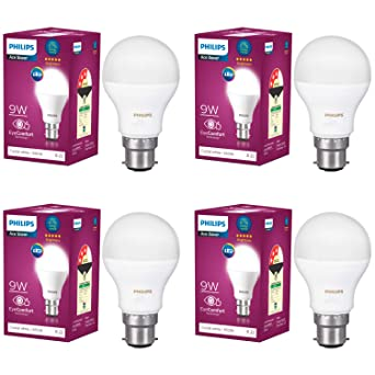 Philips Base B22 9 Watt LED Bulb  Pack of 4, White