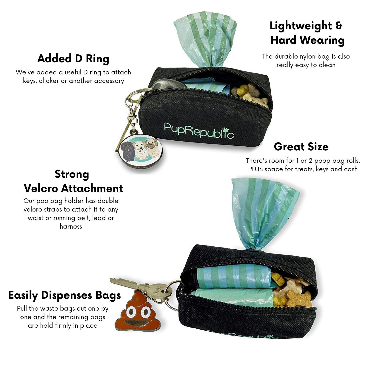Poo Bag Dispenser Holds Treats and is Lightweight for Running Walking Jogging PupRepublic Dog Poo Bag Holder with Leash Attachment