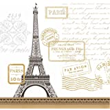 "Paperproducts Design Lunch Napkin with Exquisite Paris Rendezvous White Design, 6.5 x 6.5"", Multicolor"