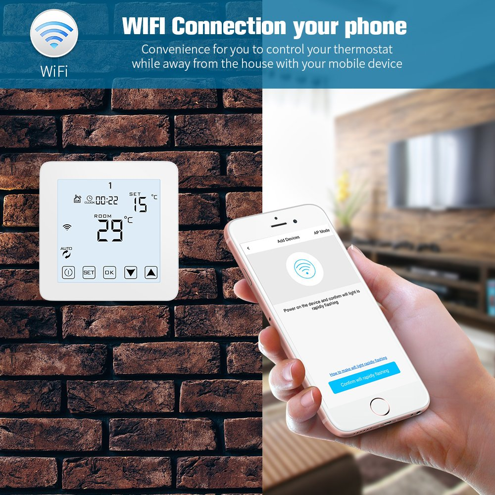 WiFi Thermostat, Programmable Touchscreen Smart Thermostat, Works with Alexa - - Amazon.com