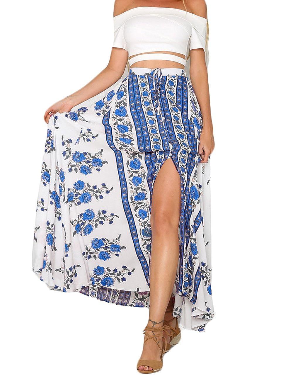 Whear Women Boho Floral Tie Up Waist Summer Asymmetrical Split Cover Up Beach Wrap Maxi Skirt